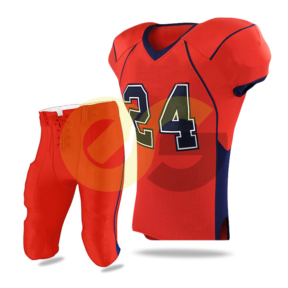59110f22a Item Name   Customized American Football Uniform Tackle twill Red   Black